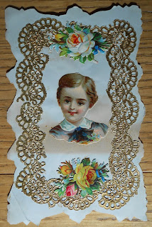 1880s valentine showing young smiling boy