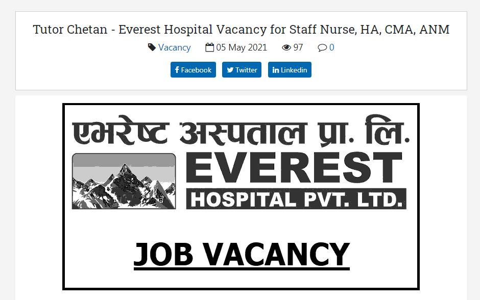Everest Hospital, New Baneshwor Kathmandu Job Vacancy for Staff Nurse, HA, CMA, ANM