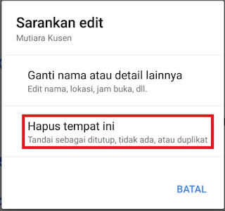 Cara hapus lokasi di google map