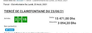 Arrivée DE AGEN DU 23/08/2021 Tiercé et Quinté QUARTE