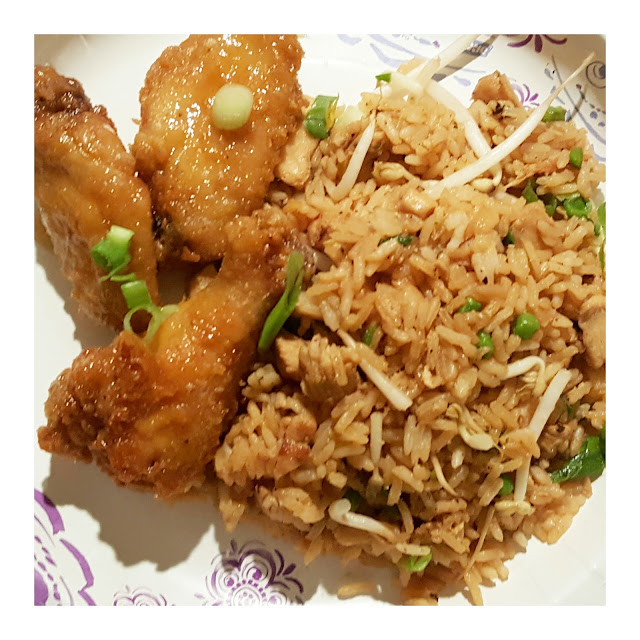 Honey wings, stir-fry rice, chinese food, wings recipe, recipe, foodpics, eventsojudith