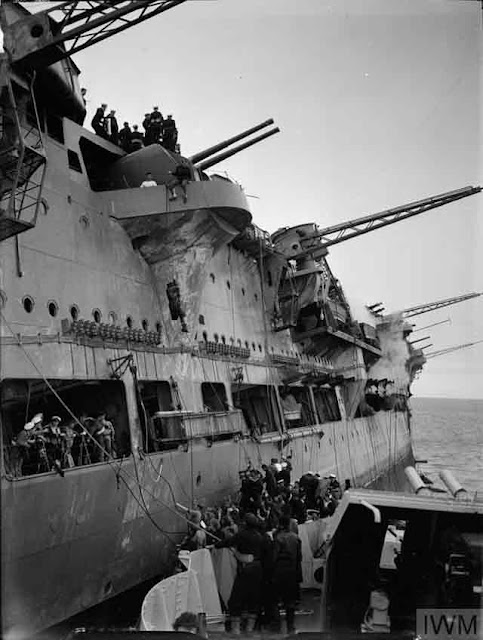 Royal Navy aircraft carrier HMS Ark Royal after being torpedoed on 13 November 1941 worldwartwo.filminspector.com