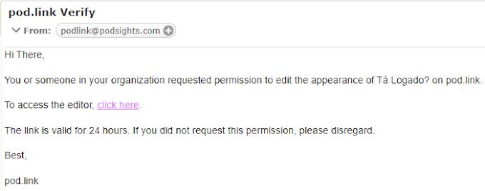 E-mail com o link de edição