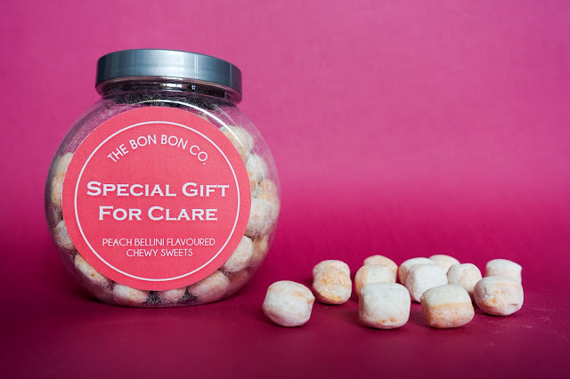 A jar of bon bon's with a personalised label