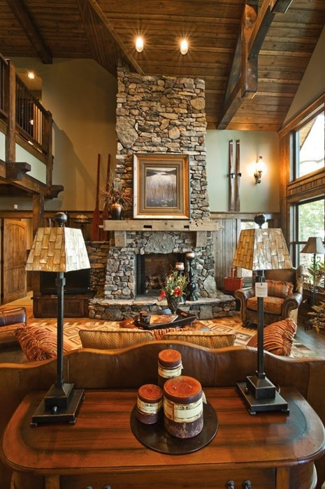 Cowgirl Princess: Beautiful fireplace in a rustic living ...