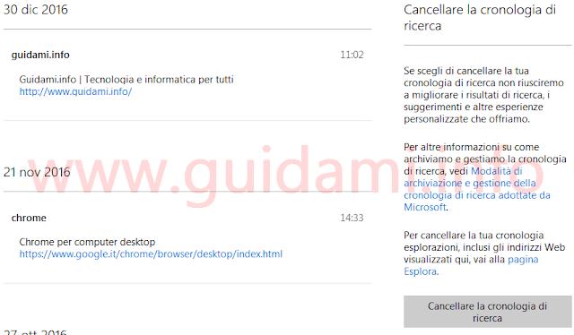 Pagina web per vedere cancellare cronologia da account Microsoft