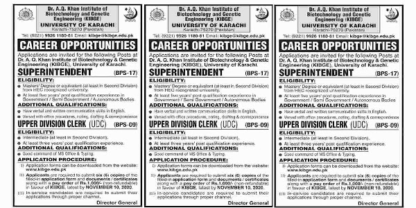Latest Dr AQ Khan Institute of Biotechnology and Genetic Engineering University of Karachi Jobs 2020 for Clerk