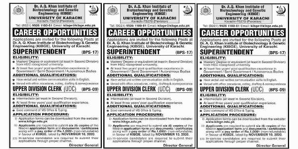 Latest Dr AQ Khan Institute of Biotechnology and Genetic Engineering University of Karachi Jobs 2020 for Clerk