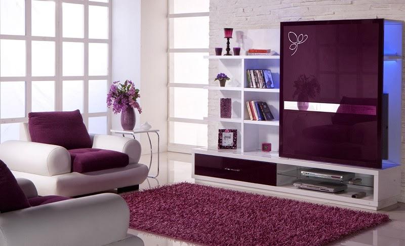Ruang Tamu Minimalis Warna Ungu Dan Putih