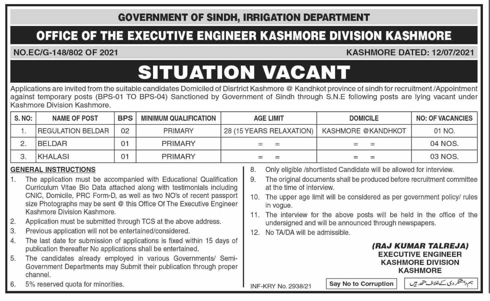 Jobs in Irrigation Department Govt of Sindh