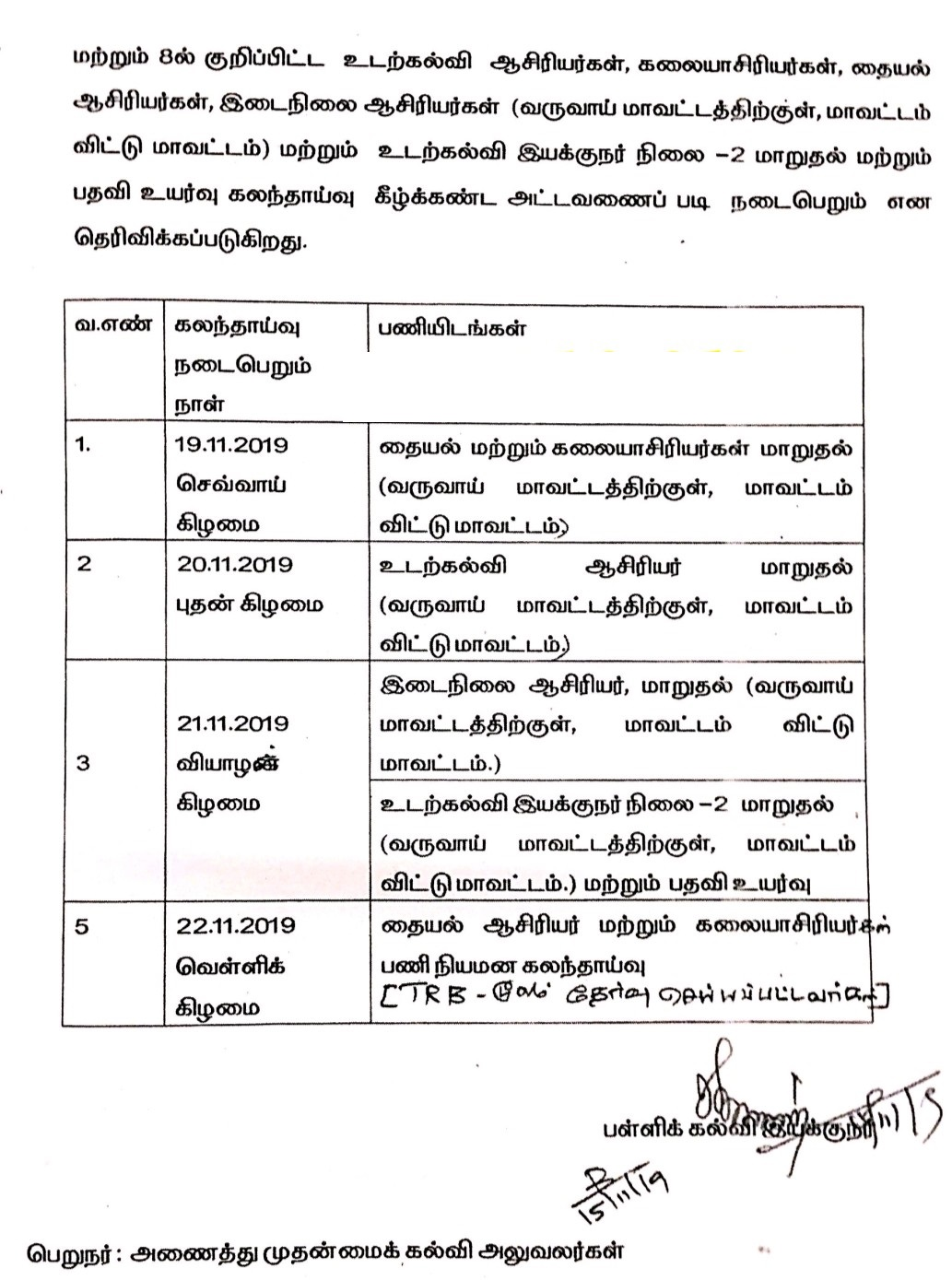 Flash News : DSE - Teachers Transfer 2019 - Revised Counseling Schedule Published ~ Padasalai No.1 Educational Website