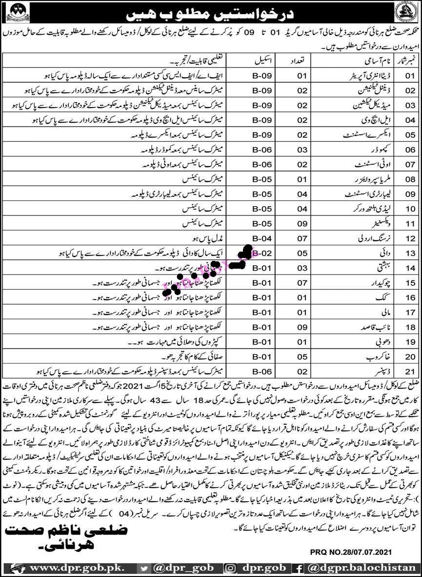 Lates District Health Department Harnai Jobs 2021 | Latest Govt Jobs