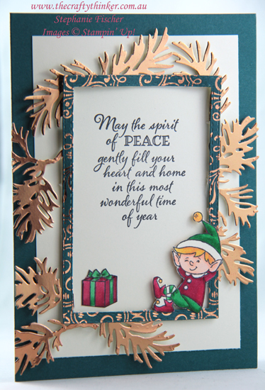 #thecraftythinker  #stampinup  #cardmaking  #christmascard  #elfie  #floatingframe  #peacefulboughs , Peaceful Boughs, Christmas Card, #Elfie, Floating Frame, Stampin' Up Demonstrator, Stephanie Fischer, Sydney NSW