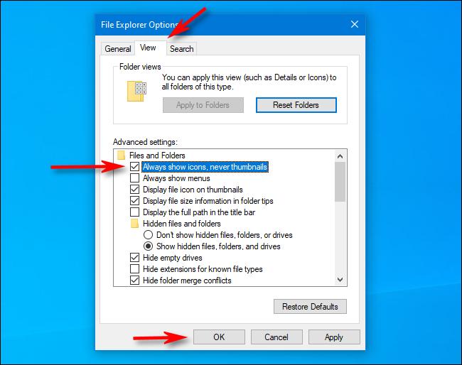 تحقق دائمًا من عرض الرموز بدلاً من الصور المصغرة في خيارات مستكشف الملفات على Windows 10