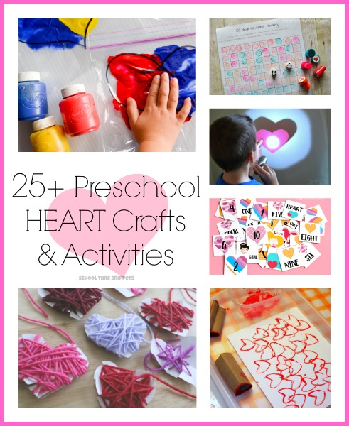 Here's a wonderful resource of 25+ Preschool Heart Crafts & Learning Activities.  Your preschooler will love these heart inspired ideas!