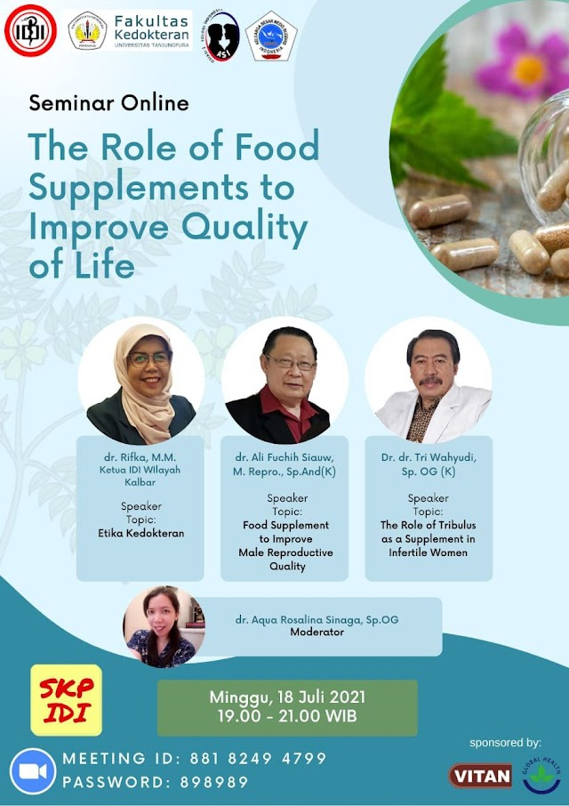 """(Gratis SKP IDI) Seminar Online The Role of Food Supplements to Imprive Quality of Life"""""""