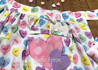 Pocket Closeup of Half Apron with Two Ruffles and Appliqued Hearts on Pocket Sewn From Valentines Day Fabric by Sharon Sews