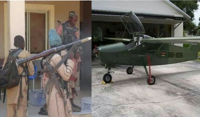 """Alt: = """"picture showing bandits carrying anti-aircraft gun and military fighter jet"""""""