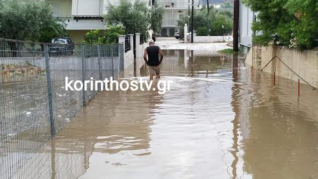 Πλημμύρες στα Λουτρά Ωραίας Ελένης – Κλειστός ο δρόμος Ισθμού - Επιδαύρου (βίντεο)