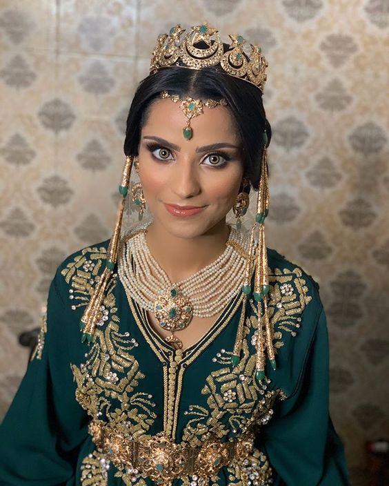 caftan vert de mariage sur mesure paris