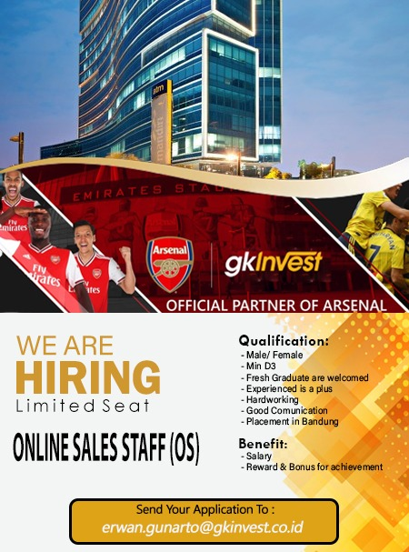 Lowongan Kerja Online Sales Staff (OS) GK Invest Bandung Mei 2021