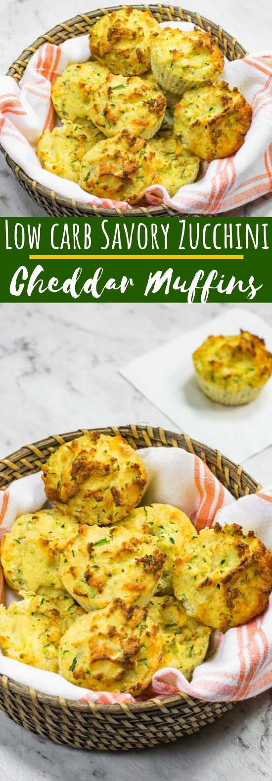 Low Carb Savory Cheddar Cheese & Zucchini Muffins #healthy #keto