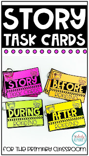 Good readers ask questions before, during and after the story. These story task cards can help make it easy to do!