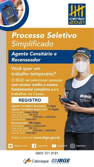 IBGE abre 55 vagas temporárias para trabalhar no Censo 2021 em Registro-SP