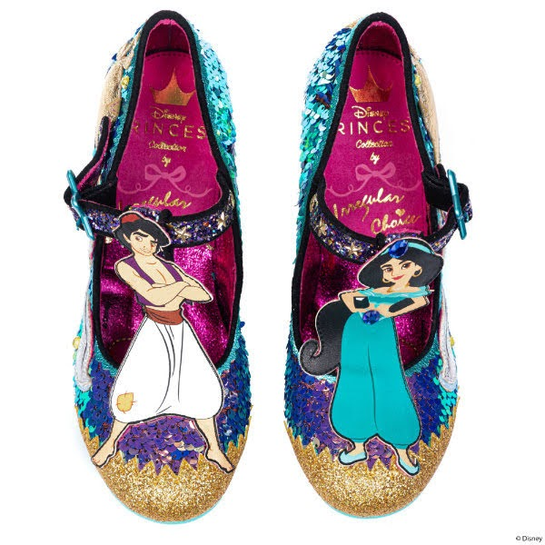 Disney Jasmine and Aladdin characters on t-bar of shoes