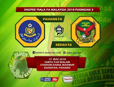 Live Streaming Pahang vs Kedah Piala FA Malaysia 17 Mac 2018