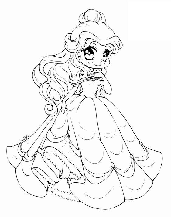 Tranh tô màu chibi công chúa