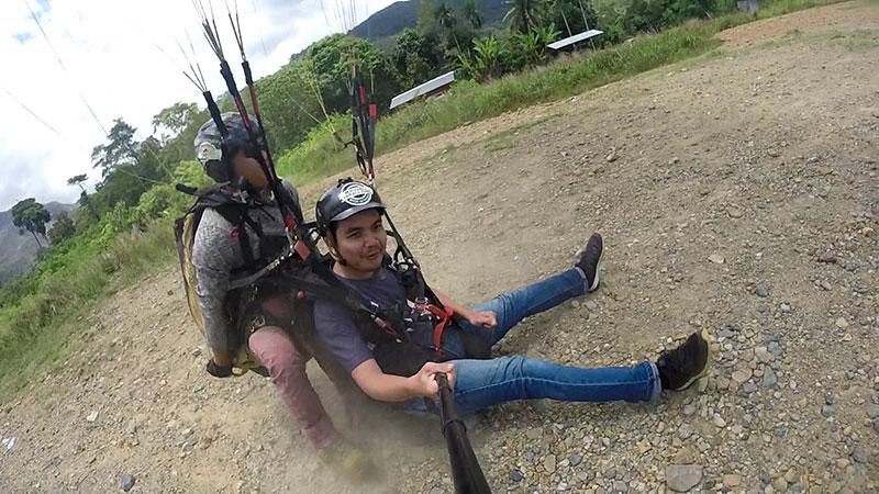 paragliding landing in Ranau Sabah