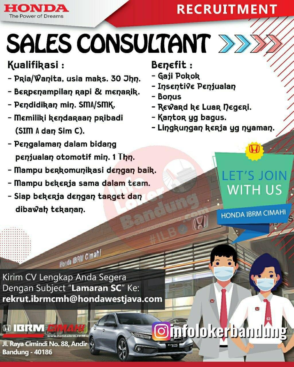 Lowongan Kerja Sales Consultant Honda IBRM Cimahi Juli 2020