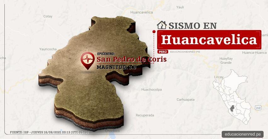 Temblor en Huancavelica de Magnitud 3.9 (Hoy Jueves 16 Septiembre 2021) Sismo - Epicentro - San Pedro de Coris - IGP - www.igp.gob.pe