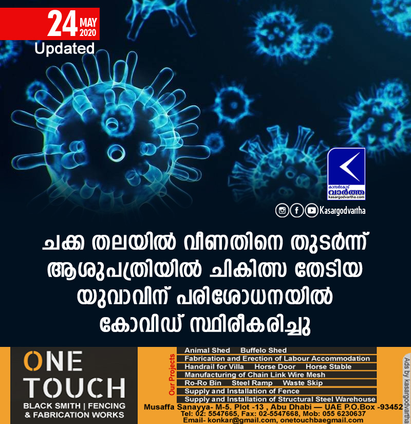 Kannur, News, Kerala, COVID-19, Trending, Injured, hospital, Top-Headlines, Youth, Test, Youth confirms covid 19 in  Kannur