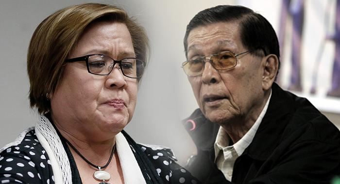 Enrile on De Lima arrest: 'Anong political prisoner? There's no such thing as political prisoner'