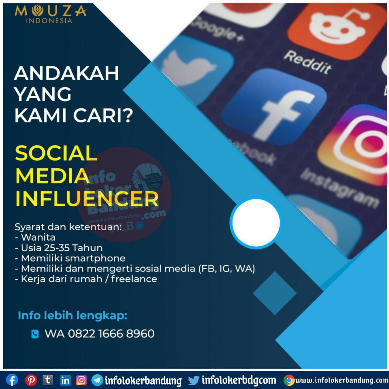 Lowongan Kerja Social Media Influencer Mouza Indonesia Bandung November 2020