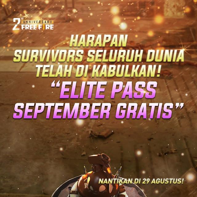 karena Free Fire bakalan mengabulkan permintaan dari survivor jika target share post atau Elite Pass September Season 16 Gratis Untuk Semua Player Free Fire