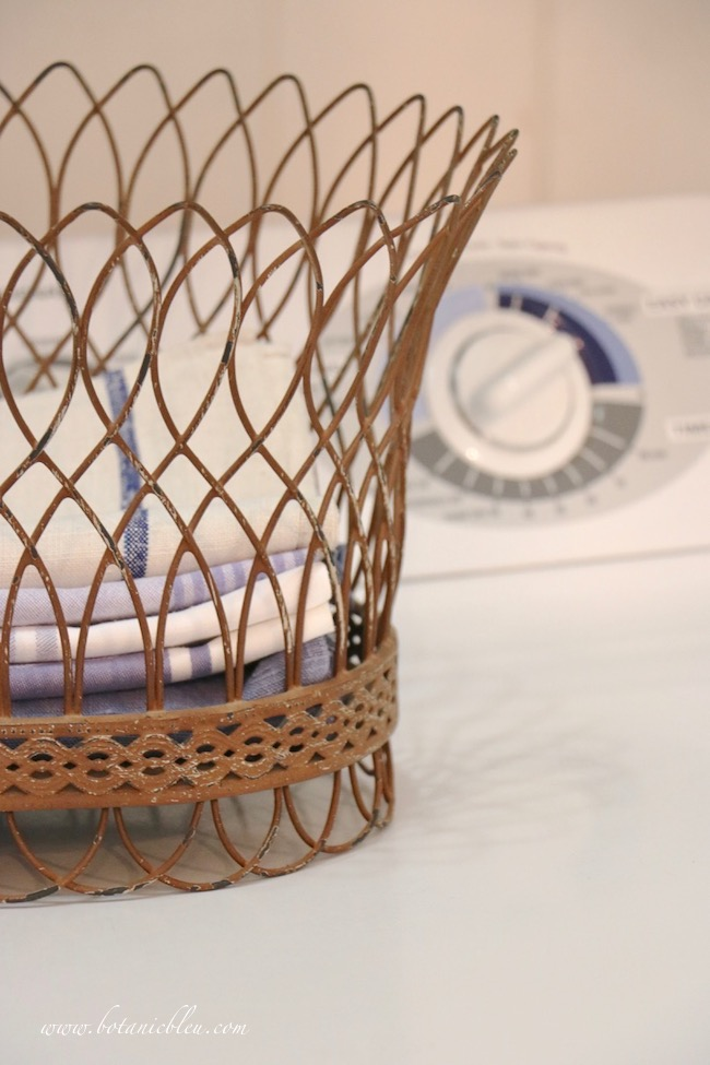 French Country laundry ORC French Style Details of French linens in wire basket