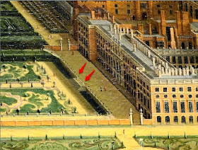 Enlarged section of A View of Hampton Court by Leonard Knyff (c1703) - the red arrows show the place of the sundials in the gardens of Hampton Court