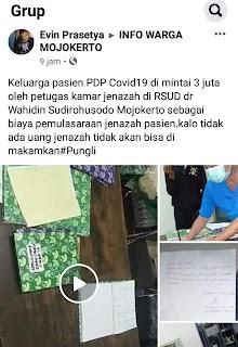 Viral, Keluarga Pasien PDP Covid-19 Meninggal Dipungut Rp 3 Juta, Begini Tanggapan Pihak Rumah Sakit