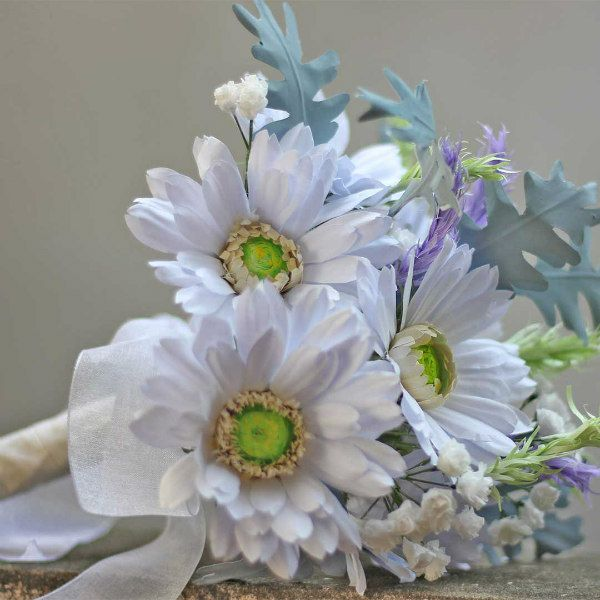 Paper Wedding Bouquet of Gerbera Daisies, Dusty Miller, and Baby's Breath