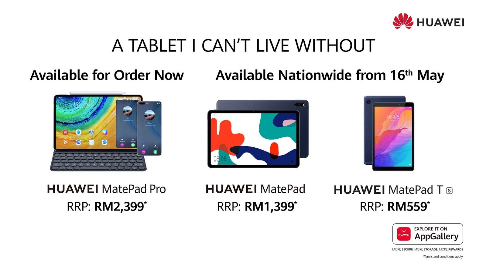 Huawei MatePad Series including HUawei MatePad and Huawei MatePad T