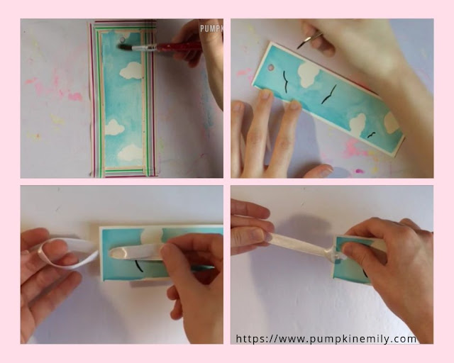 making a sky watercolor bookmark