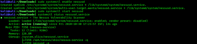 Nessus service is running sucessfully