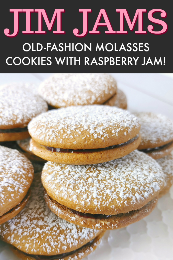 Jim Jams! An old-fashioned heirloom cookie recipe for molasses cookie sandwiches filled with raspberry jam.
