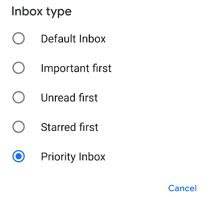 Inbox Types in Gmail