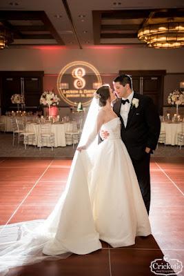 bride and groom smiling on dancefloor