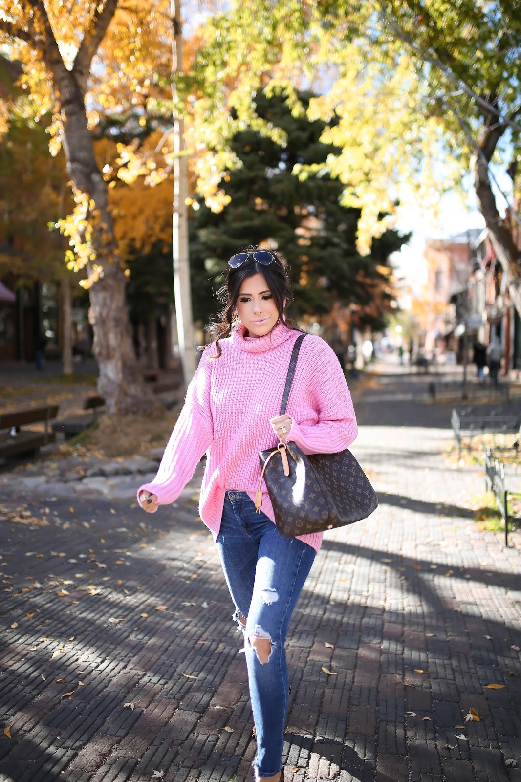 Emily Gemma, The Sweetest Thing Blog, aspen fashion blog, hot pink turtleneck ASOS, how pink turtleneck Nordstrom, Zara ripped jeans, leopard pumps, christian louboutin so kate leopard pumps, louis vuitton Montaigne GM, pinterest fall fashion 2016, pinterest fall outfits, pinterest outfit ideas fall casual women, pinterest fall trends 2016, pinterest fall outfit ideas for women, fall date night outfits, best fall outfits, popular fall outfits, how to wear hot pink in fall, leopard print pumps outfit idea, fashion blogs with fall outfits, popular fashion blogs fall outfits, messy ponytail tutorial, how to make a messy low ponytail, messy voluminous low ponytail, medium brunette hair style, fall hairstyles 2016, fall hair brunette balayage medium, smash box OBVI lipstick charlotte tilbury lipgloss, david yurman morganite albion ring gold, david yurman bracelet stack