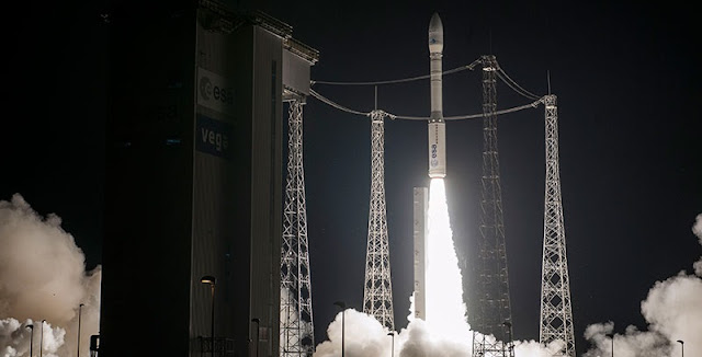 The light-lift Vega ascends from the Spaceport's SLV launch complex with its MOHAMMED VI – A satellite passenger. Credit: Arianespace